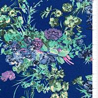*4 3/8 YD PC--Bright Blue Floral Textured Liverpool Knit