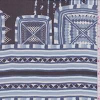 *1 1/2 YD PC--Black/Sky Cube Stripe Silk Chiffon