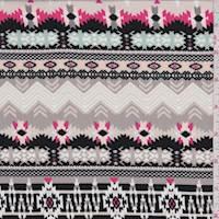 Taupe Tribal Stripe Rayon Challis