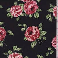 Black/Copper Rose Floral Rayon Challis