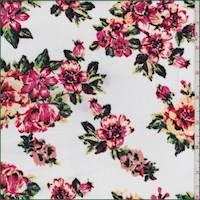 White/Apricot/Pink Floral Rayon Challis