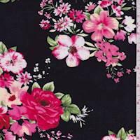 Black/Berry Pink Floral Bouquet Rayon Challis