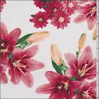 White/Salmon Pink Lily Rayon Challis