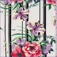 Ivory Stripe Floral Rayon Challis