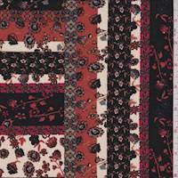 Rust/Black/Ivory Floral Stripe Polyester Crepe