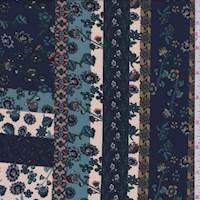 Deep Blue/Cream/Olive Floral Stripe Polyester Crepe