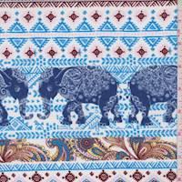 White/Turquoise Elephant Stripe Crinkled Crepe