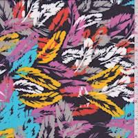 Black Multi Feather Print Chiffon