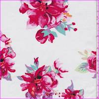 White/Raspberry Floral Cluster Cotton