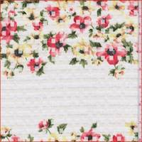 White Floral Check Organza