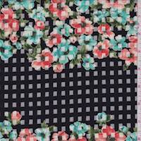 Black Floral Check Organza
