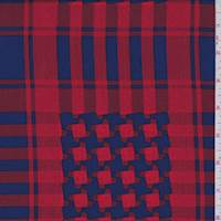 Sapphire/Red Houndstooth Plaid Crepe de Chine