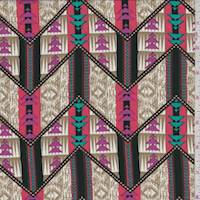 Golden Brown/Black Tribal Chevron Georgette