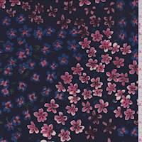 *1 1/2 YD PC--Dark Navy Multi Floral ITY Jersey Knit