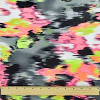 *2 1/8 YD PC--Neon Pink/Multi Ikat Print Activewear Knit