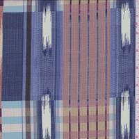 Blue/Blush Abstract Plaid Silk Crepe de Chine