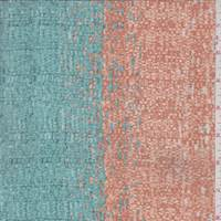 Aqua Green/Orange Wicker Stripe Silk Crepe de Chine