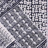 Dark Ink/White Chevron Patch Silk Crepe de Chine