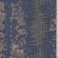 Slate Blue/Beige Wicker Stripe Silk Crepe de Chine