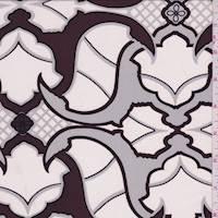 Maroon/Talc Baroque Silk Crepe de Chine