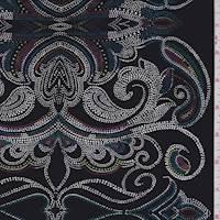 Black Multi Dotted Scroll Silk Crepe de Chine