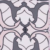 Talc/Pewter Baroque Silk Crepe de Chine