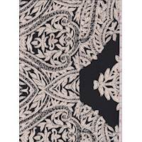 Black/Beige Leaf Scroll Silk Crepe de Chine