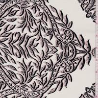 Talc/Blush Leaf Scroll Silk Crepe de Chine