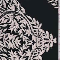 Black Leaf Scroll Silk Crepe de Chine