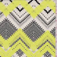 Lemon Lime Pinked Chevron Silk Crepe de Chine