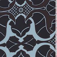 Black/Blue Baroque Silk Crepe de Chine