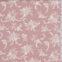 Dusty Peach/White Floral Bouquet Poplin