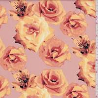 Beige/Apricot Rose Floral Poplin
