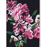Black/Watermelon Floral Bouquet Poplin