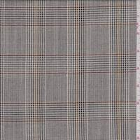 *1 YD PC--Taupe Brown Check Wool Suiting