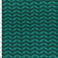 *3/4 YD PC--Deep Teal/Black Stripe Chevron Print Jersey Knit