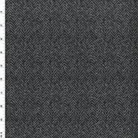 *7/8 YD PC--Black/Gray/Blue Brush Herringbone Print Ponte