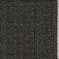 *3 YD PC--Black/Tobacco Paisley Stripe Scuba Knit