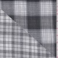 *2 7/8 YD PC--Grey/White Multi Plaid Double Face Gauze