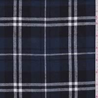 *1 YD PC--Dark Slate Blue Plaid Flannel