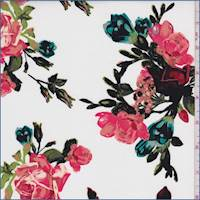 White/Coral Rose Sprig Poplin