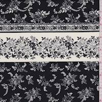 White/Black Floral Wallpaper Stripe Poplin