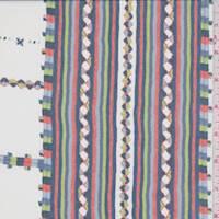 White/Cobalt Mosaic Stripe Silk Chiffon