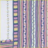 White/Citron Mosaic Stripe Silk Chiffon