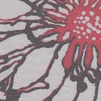 *4 YD PC--Grey/Red/Black Floral Silk Chiffon