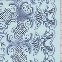 Oasis Blue Scallop Print Silk Chiffon