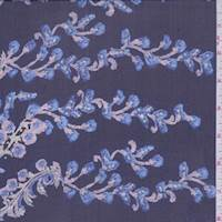 Navy Floral Scroll Silk Chiffon