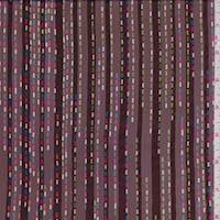 Maroon Multi Satin Stripe Silk Chiffon