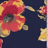 Navy Peony Floral ITY Jersey Knit
