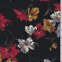 Black/Red/Gold Tossed Floral Challis